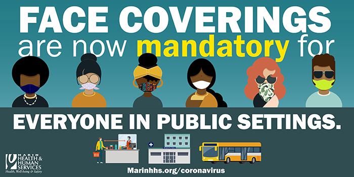 "Graphic that says that ""Face Coverings Are Now Mandatory For Everyone In Public Settings"""