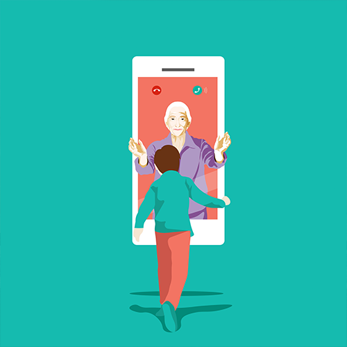 Illustration depicting a child talking to grandmother via facetime.