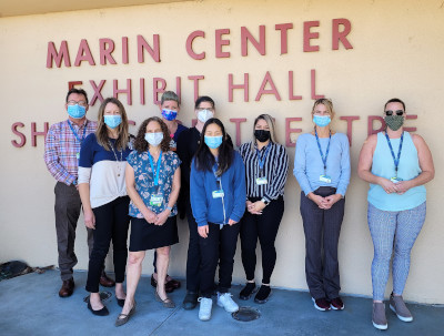 MarinHealth Workers in front of the Marin Center Vaccination POD